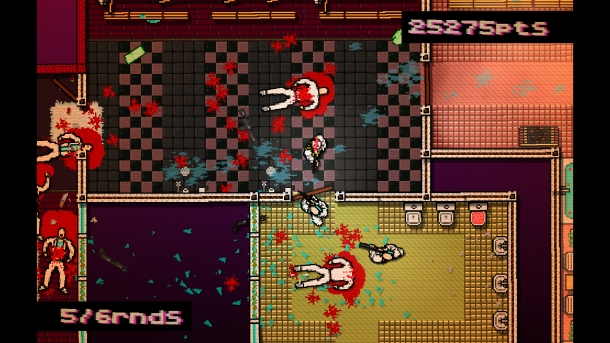 Depiction of the violence of Hotline Miami