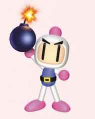 Bomberman holding a bomb
