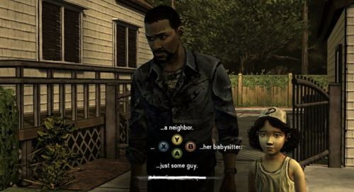A screenshot of Lee and Clementine from The Walking Dead, making an early dialogue choice in-game.